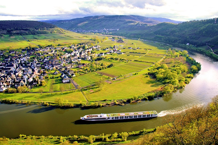 Crystal ship on a scenic river cruise