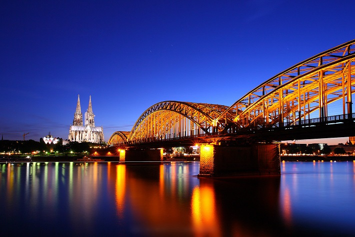 A river in Germany at night