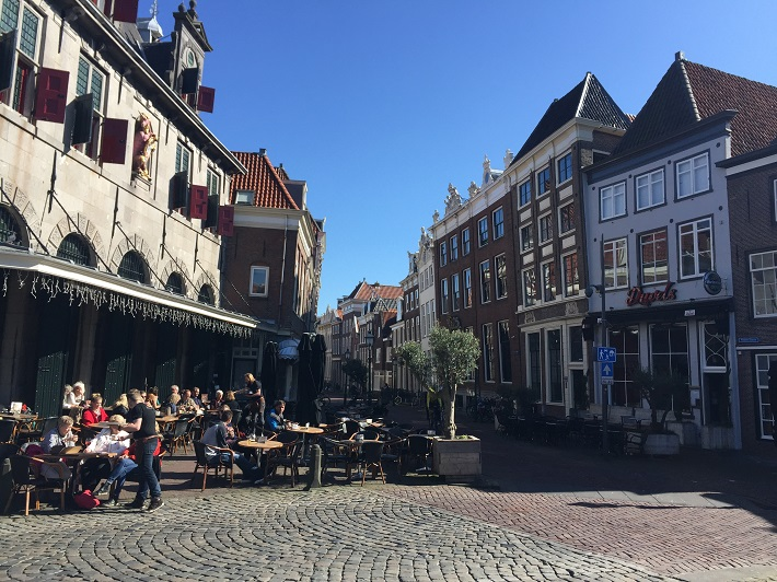 Cobbled street and restaurants in Hoorn