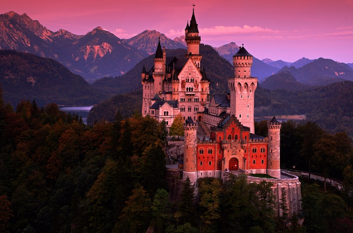 A castle as seen at sunset in Germany