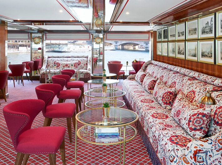 Lounge area on Uniworld SS Joie de Vivre river cruise ship