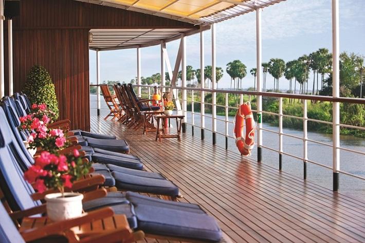 Sun deck on-board luxury river cruise ship