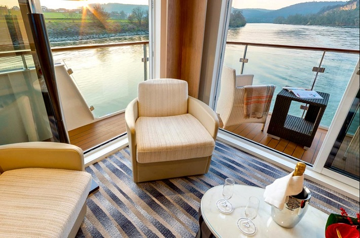 Cosy armchairs and river views in Viking Skadi suite
