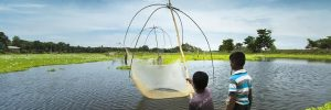 Two young boys fishing with suspended nets in Assam
