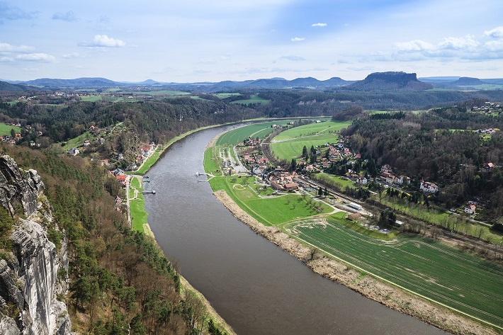 The Elbe River running through picturesque countryside in Switzerland