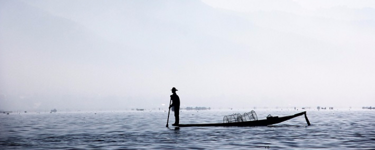 A local fisherman fishing the traditional way on the Irrawaddy River in Myanmar