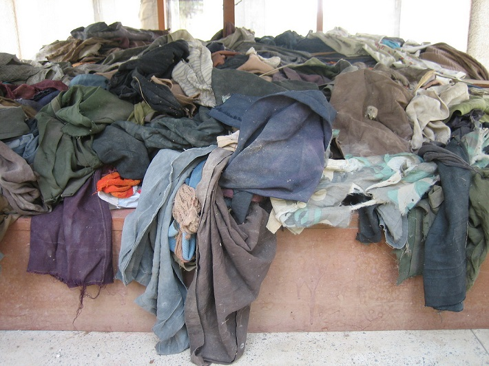 Clothing of victims of the Pol Pot regime at the Killing Fields in Choeung Ek, Cambodia