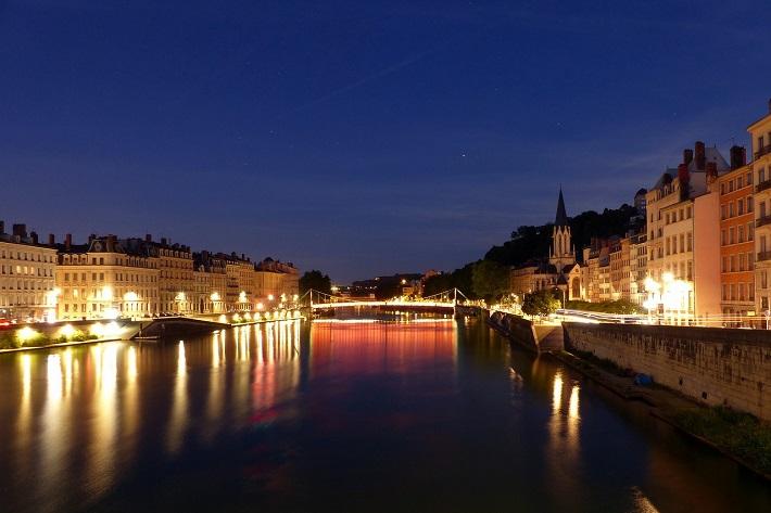 The Saone River passing through Lyon at night