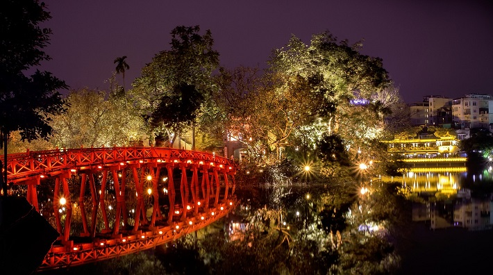 Thue Huc Bridge in Hanoi's Old Quarter at nighttime