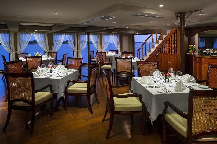 Asian-inspired interior of the restaurant on-board AmaDara