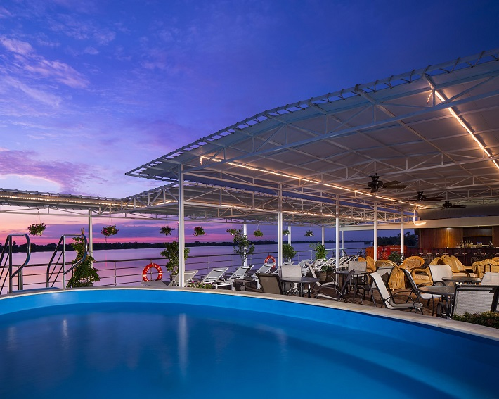 The pool deck on-board AmaDara seen at sunset