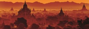 Fiery orange sunset over the hundreds of temples in Bagan