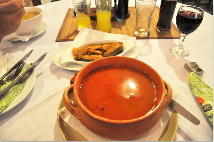 A bowl of fisherman's soup on the table in a restaurant in Budapest
