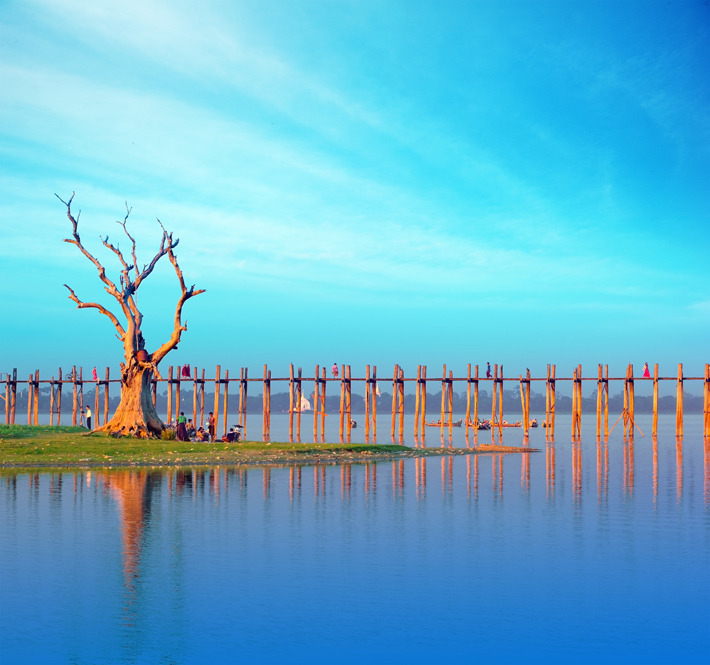 A single tree and teak bridge over the Irrawaddy in Myanmar