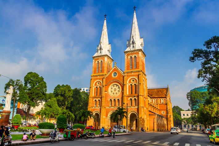 Notre Dame Basilica bathed in sunshine in Ho Chi Minh City