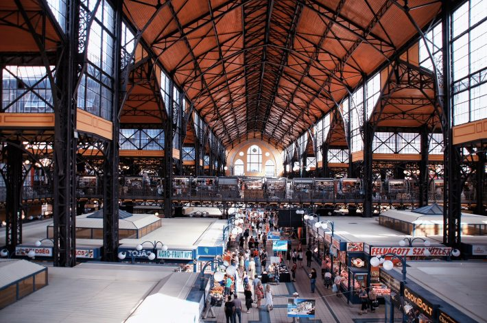 People shopping at the Great Market Hall: great destination for Budapest