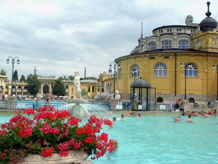 People bathing in Budapest's thermal baths: popular experience cruising the Danube