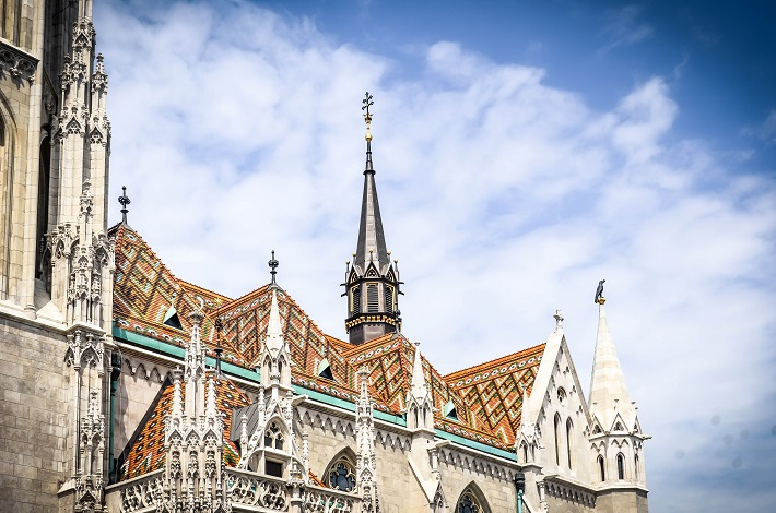 The ornate spires of a church in Budapest