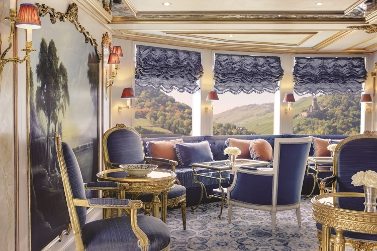 Opulent chairs and decor in the Hasburg Salon on-board SS Maria Theresa