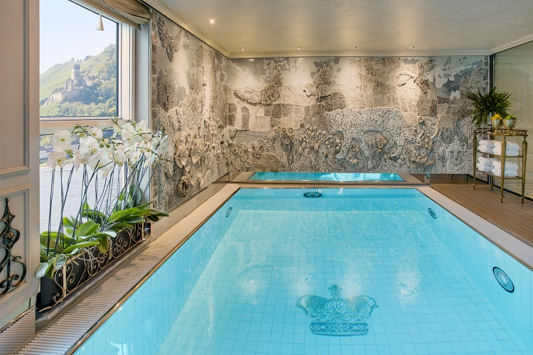 The pool in the Leopard Lounge on-board Uniworld's SS Maria Theresa cruise ship