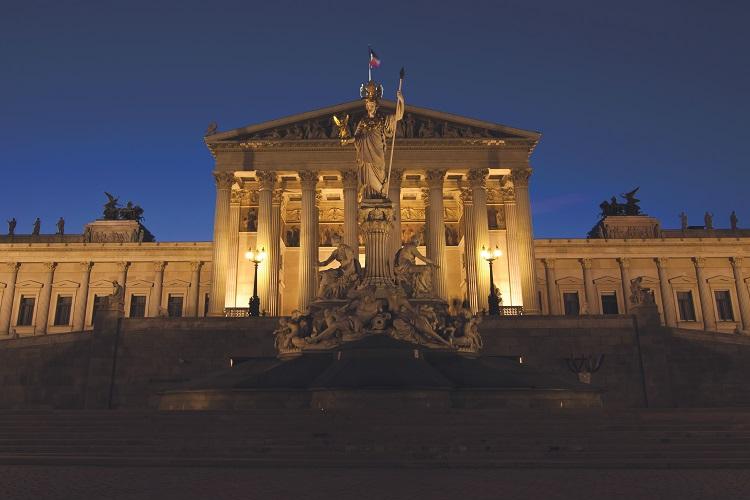 Vienna's stunning Parliament lit up at night