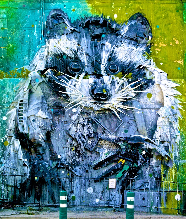 A raccoon painted by the street artist, Bordalo II, in Lisbon