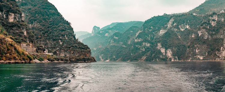 Lush cliffs lining the Three Gorges on the Yangtze River