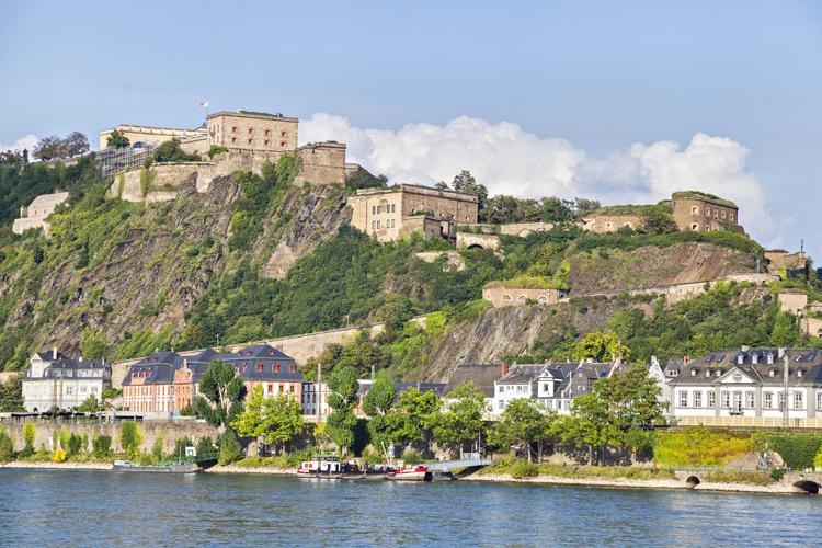 Ornate houses peppering the cliffside in Koblenz