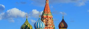 The colourful onion domes of St Basils Cathedral in Moscow