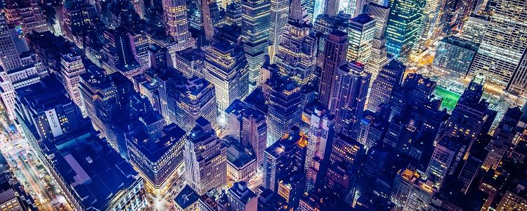 Shanghai's buildings illuminated at night time