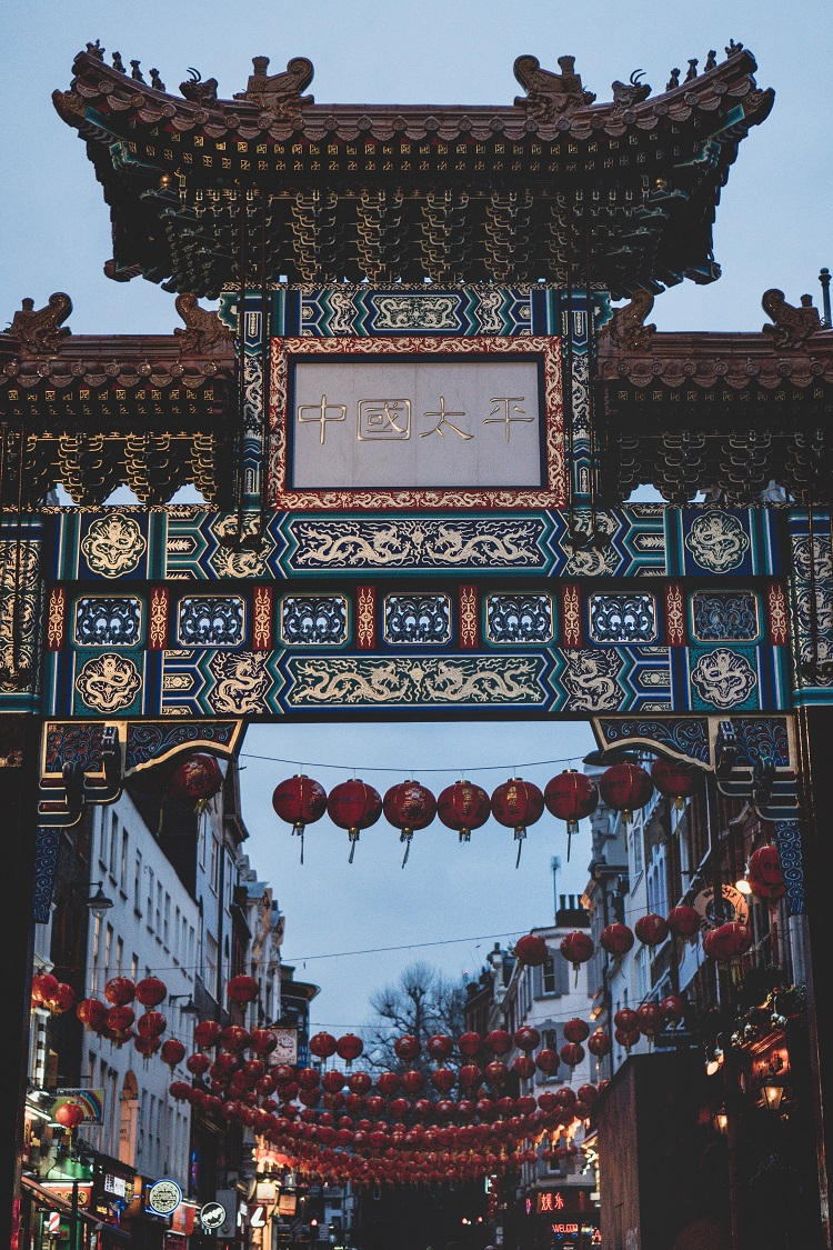 A traditional temple and red lanterns in Shanghai