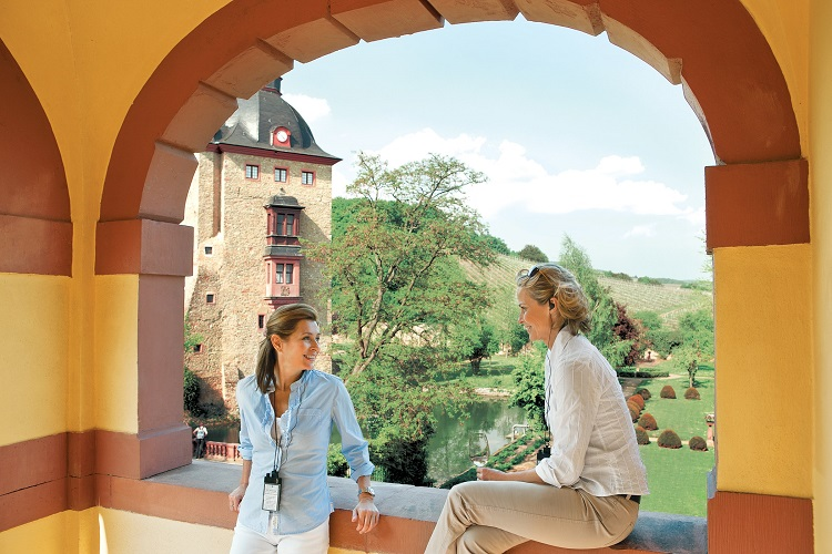 Guests on a castle excursion during a Uniworld Rhine river cruise