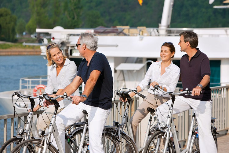 Guests riding bikes during a Rhine river cruise
