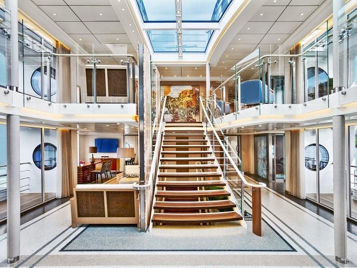 The elegant Atrium on-board a Viking River Cruises ship