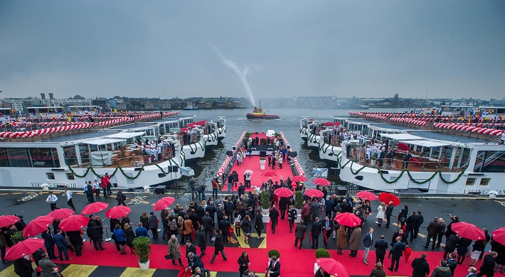Crowds at Viking River Cruises' record-breaking Christening ceremony