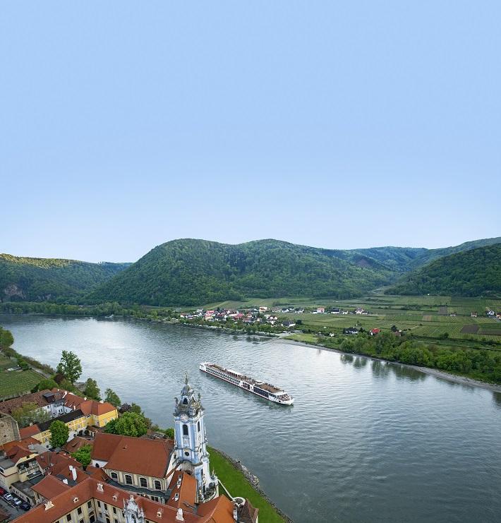 A Viking River Cruises ship sailing down the Durnstein