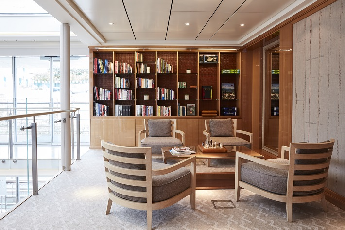The elegant and relaxing library on-board a Viking River Cruises ship