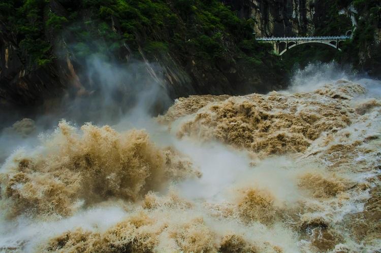 Water raging through a dam on the Yangtze River