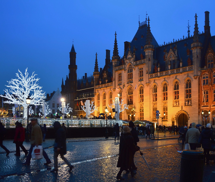 Architecture in Bruges during winter