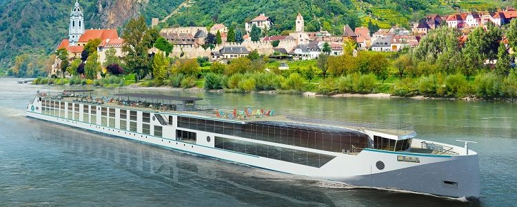 The exterior of the Crystal Bach river cruise ship as it sails down the River Rhine