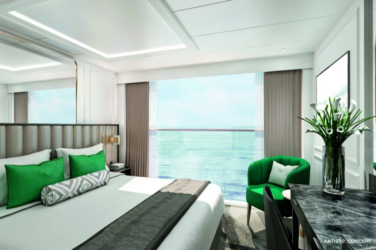 The bedroom in a Petite Suite on-board Crystal Bach
