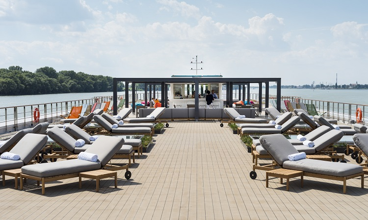 Sun loungers on the top deck of Crystal Mozart