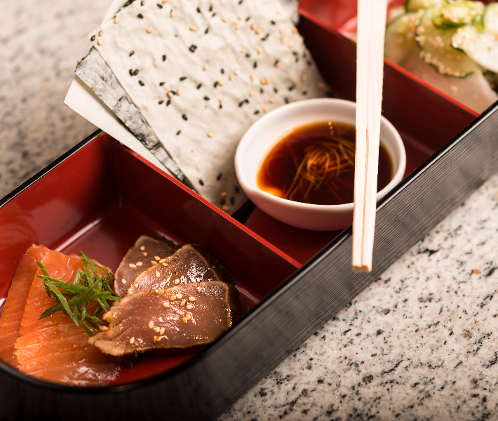A bento box of Japanese food on a Crystal river cruise ship