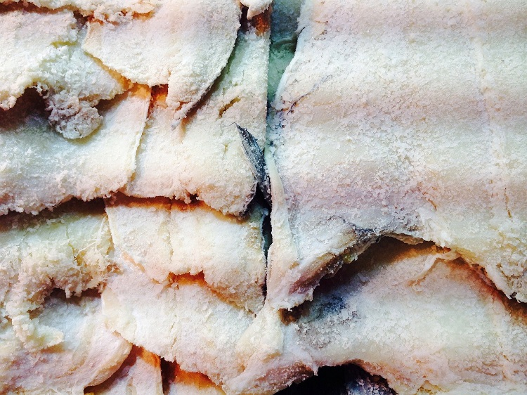 A pile of Portuguese salt cod, or bacalhau