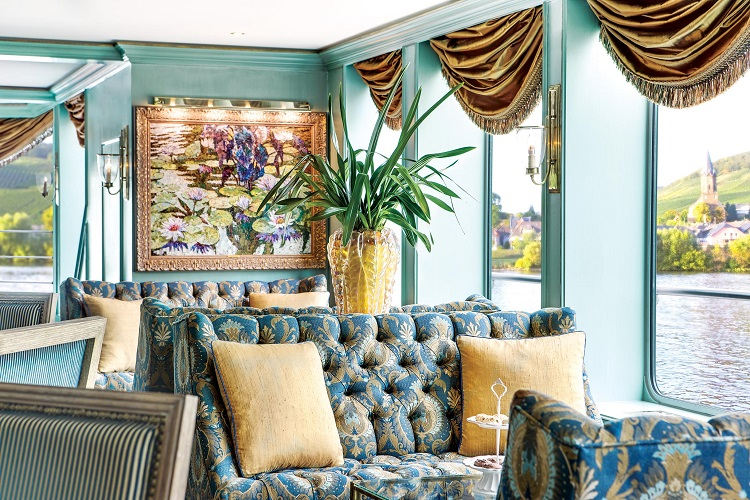 An elegantly decorated lounge on a Uniworld river cruise ship