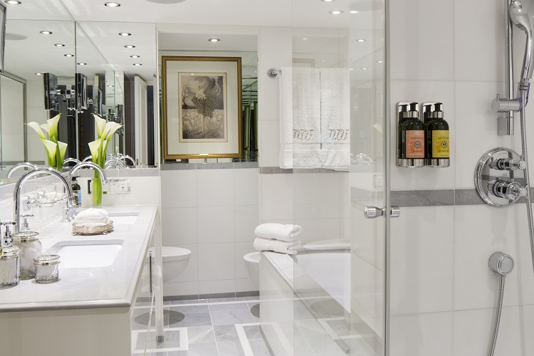 The sophisticated bathroom in a Royal Suite on-board Uniworld SS Catherine