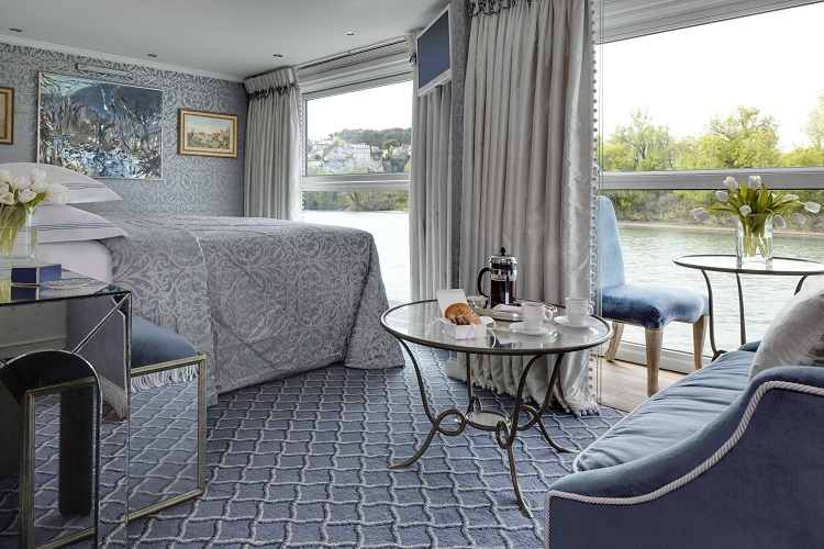 An elegantly styled suite on-board Uniworld SS Catherine