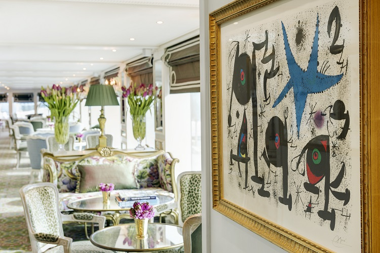 The stunning Van Gogh Lounge on-board Uniworld's SS Catherine cruise ship