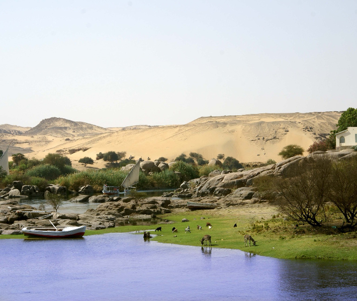 Picturesque port of Aswan - featured on river cruises on the Nile