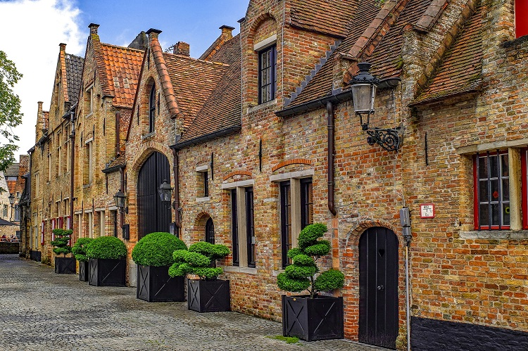 Traditional old buildings in a quiet street in the north of Bruges